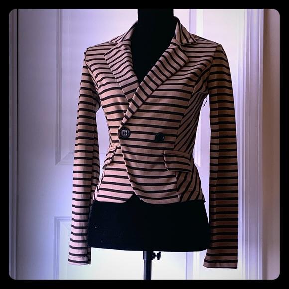 Poetry Jackets & Blazers - Poetry Lightweight Black and Camel Striped Blazer